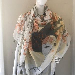 Cream Pastel Color Oriental Scarf from H&M 46x46